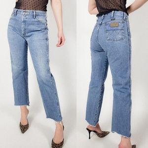 Wrangler high waisted light cropped jeans raw hem